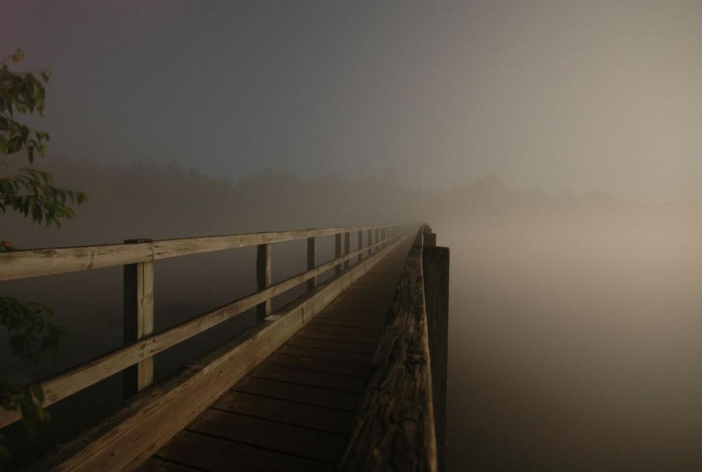 Foggy Bridge lit by Full Moon at 1am